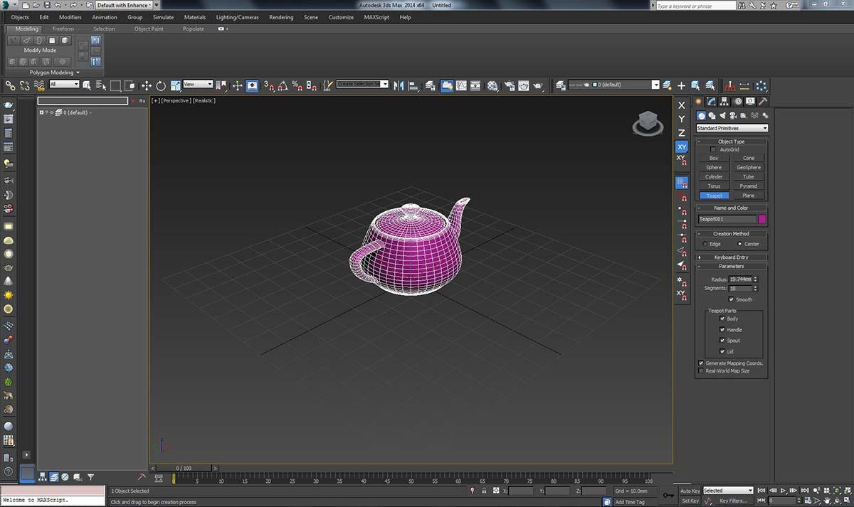 В 3ds Max создаем чайник