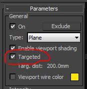 Чекбокс Targeted в панели Parameters