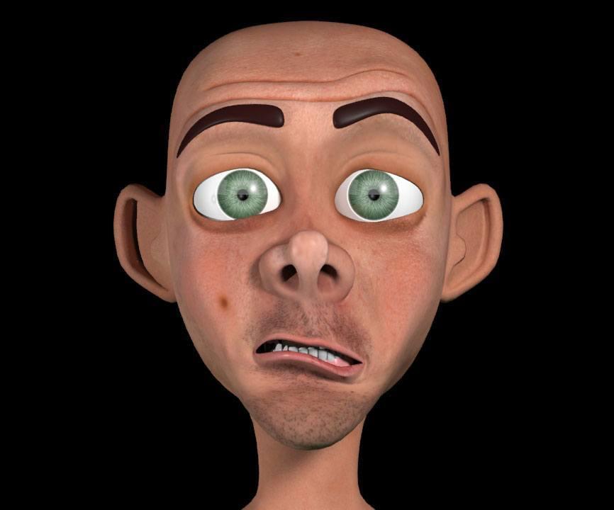 Мимические морщины на лице 3D персонажа