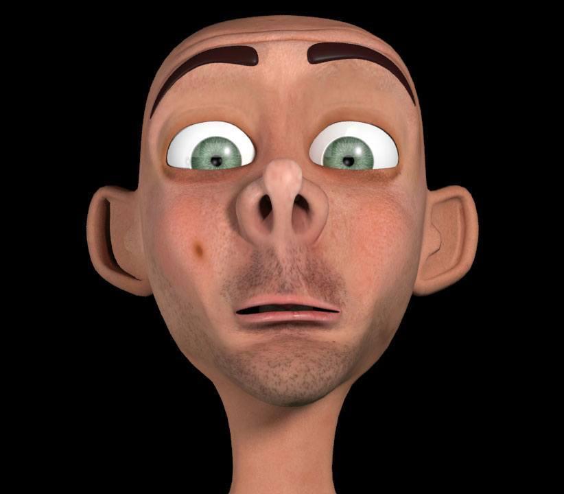 Мимические морщины на лице 3D персонажа Bump карта
